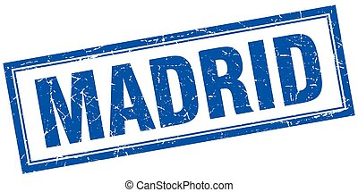 Madrid blue square grunge stamp on white