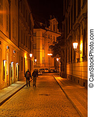 Night street in Prague