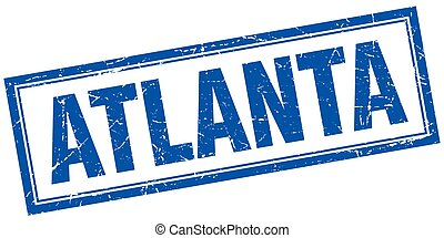Atlanta blue square grunge stamp on white