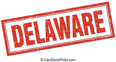Delaware red square grunge stamp on white