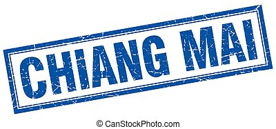 Chiang mai blue square grunge stamp on white