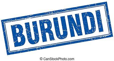 Burundi blue square grunge stamp on white