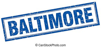 Baltimore blue square grunge stamp on white