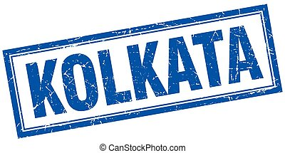 Kolkata blue square grunge stamp on white