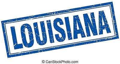 Louisiana blue square grunge stamp on white