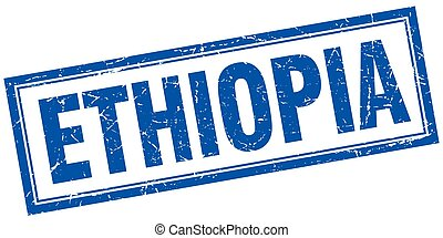 Ethiopia blue square grunge stamp on white