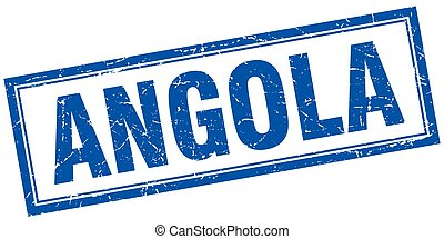 Angola blue square grunge stamp on white