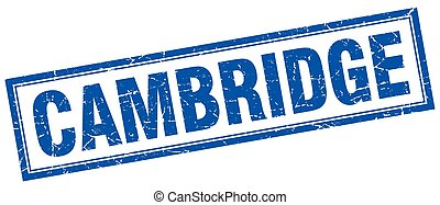 Cambridge blue square grunge stamp on white