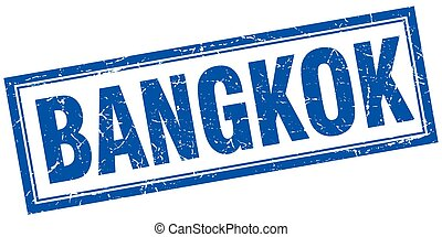 Bangkok blue square grunge stamp on white