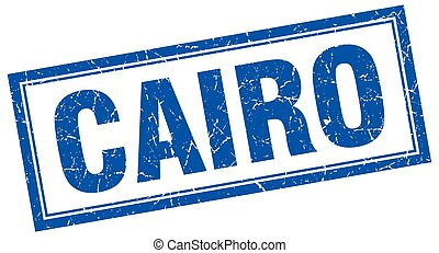 Cairo blue square grunge stamp on white