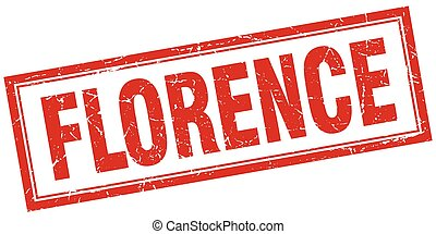 Florence red square grunge stamp on white