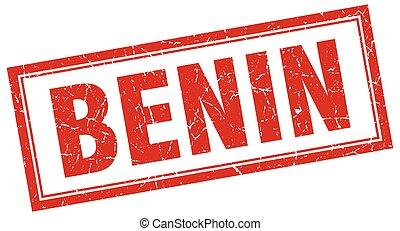 Benin red square grunge stamp on white