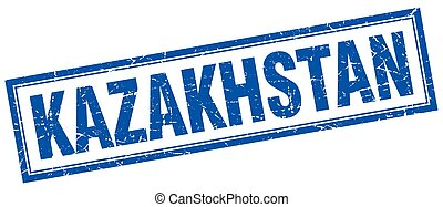 Kazakhstan blue square grunge stamp on white