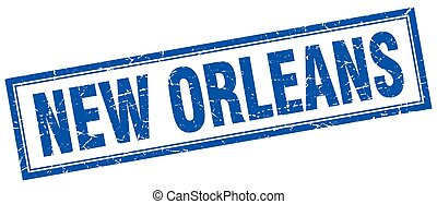 New Orleans blue square grunge stamp on white