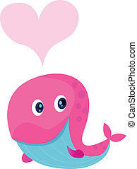 Cute pink whale with heart shape in - Vector Illustration of...
