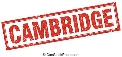 Cambridge red square grunge stamp on white