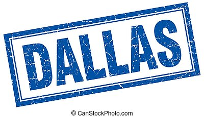 Dallas blue square grunge stamp on white