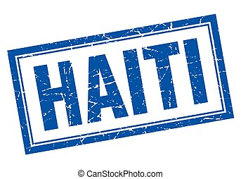 Haiti blue square grunge stamp on white