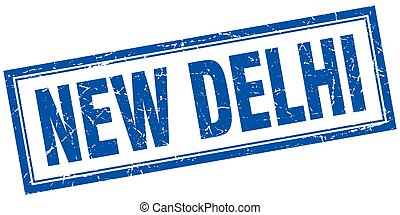 New Delhi blue square grunge stamp on white
