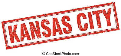 Kansas City red square grunge stamp on white