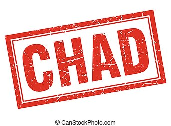 Chad red square grunge stamp on white