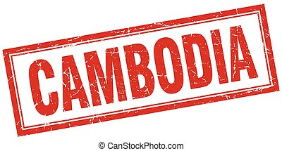Cambodia red square grunge stamp on white