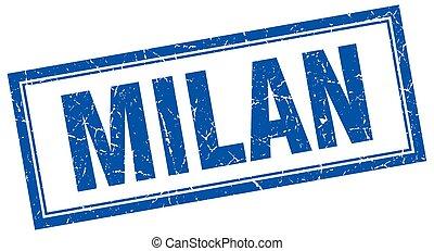 Milan blue square grunge stamp on white