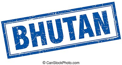 Bhutan blue square grunge stamp on white