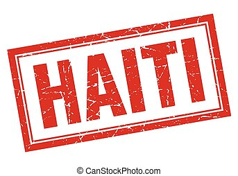 Haiti red square grunge stamp on white