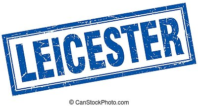 Leicester blue square grunge stamp on white