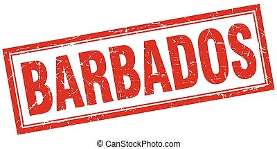 Barbados red square grunge stamp on white