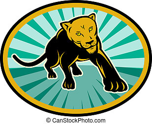 lion or cougar crawling towards you - illustration of a lion...