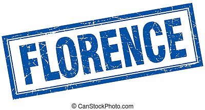 Florence blue square grunge stamp on white