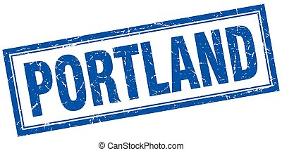 Portland blue square grunge stamp on white