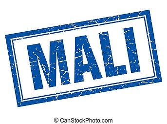 Mali blue square grunge stamp on white