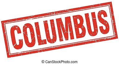 Columbus red square grunge stamp on white