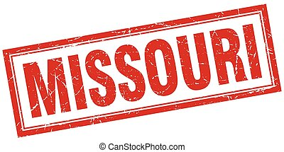 Missouri red square grunge stamp on white