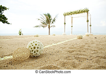flower decoration at wedding venue on the beach