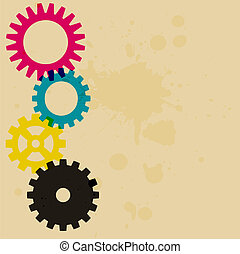 Gear and cog background - a cmyk spectrum gear background...
