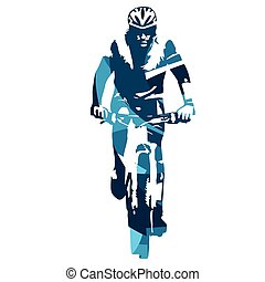 Mountain biker front view Abstract blue vector illustration
