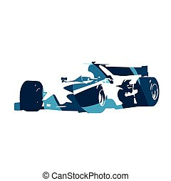 Abstract blue formula racing car Isolated vector silhouette...
