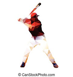Abstract baseball player Geometrical isolated silhouette...