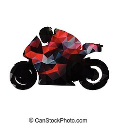 Abstract geometric red motorbike vector silhouette, isolated...