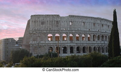Coliseum in Rome - The Coliseum, Rome. Time lapse at sunset