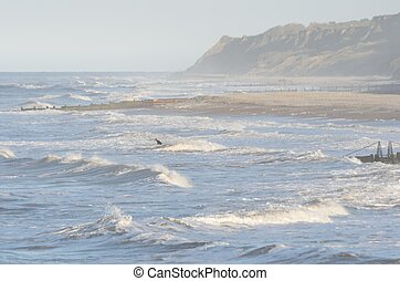 Lone Surfer in rough sea - Lone Surfer on rough sea