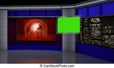 News TV Studio Set -88 - News TV Studio Set 88-Virtual Green...