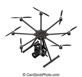 Octocopter with DSLR camera isolated on white background 3D...