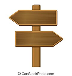 Wooden Arrow Sign. Signpost on White Background. Vector...