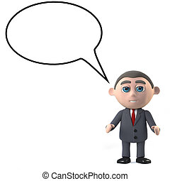3d Businessman with empty speech bubble - 3d render of a...