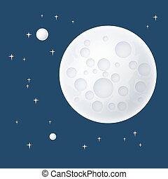 Planet and Stars in Space - Planet in Space, the Moon with...